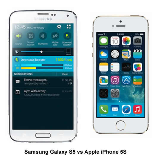 Samsung Galaxy S5 versus Apple iPhone 5S