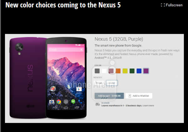 Google Nexus 5 colours