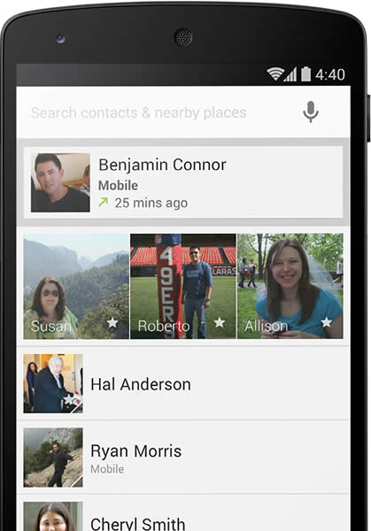 Contacts Screen Android KitKat