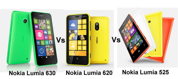 Nokia Lumia 630 vs Nokia Lumia 620 vs Nokia Lumia 525