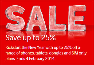 Vodafone sale offers up to 25 per cent off phones, tablets
