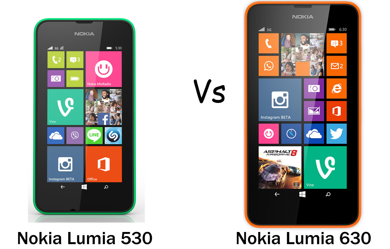 Nokia Lumia 530 vs Lumia 630