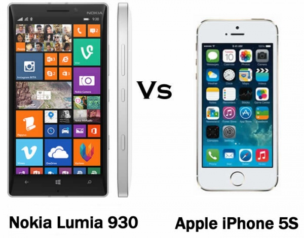 Nokia Lumia 930 vs Apple iPhone 5S