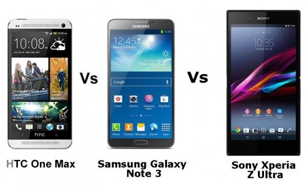 HTC One Max vs Samsung Galaxy Note 3 vs Sony Xperia Z Ultra   Phablet    Xperia Z Ultra Vs Htc One