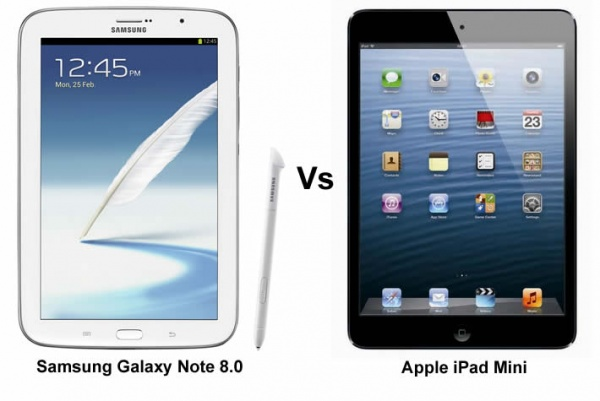 Samsung Galaxy Note 8 0 V Apple Ipad Mini Battle Of The Portable