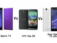 Xperia T3 vs One E8 vs T2 Ultra