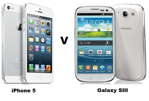 Apple iPhone 5 V Galaxy SIII