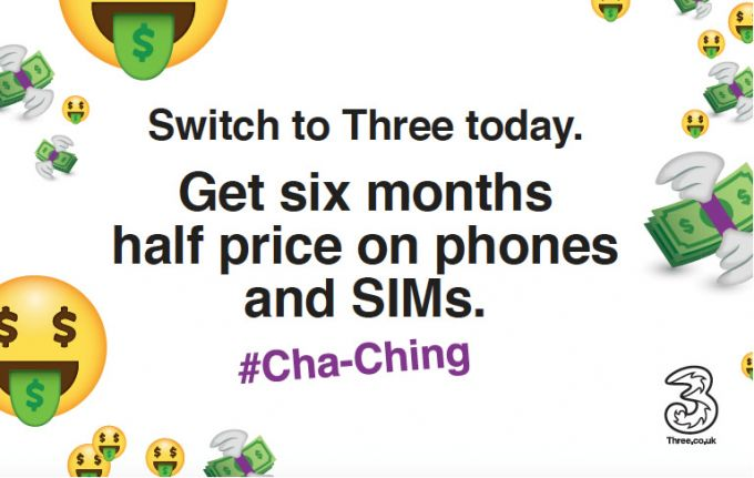 Three cuts prices by 50% on handset and SIM only contracts