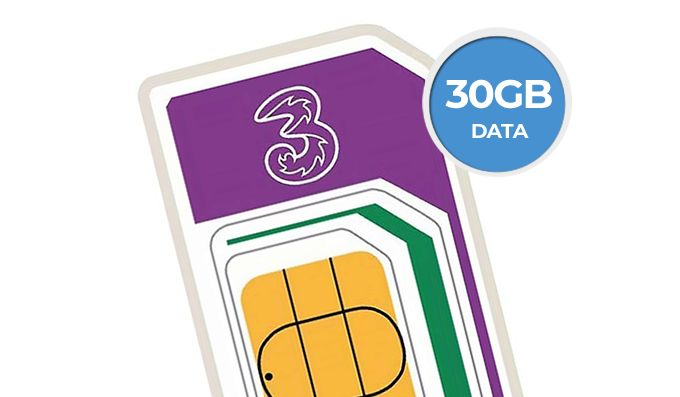 30GB Three SIM Plan just £15 a month