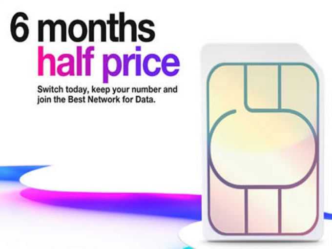Get six months half price on Three SIM Only or with a phone