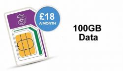 100GB Data SIM on Three for £18
